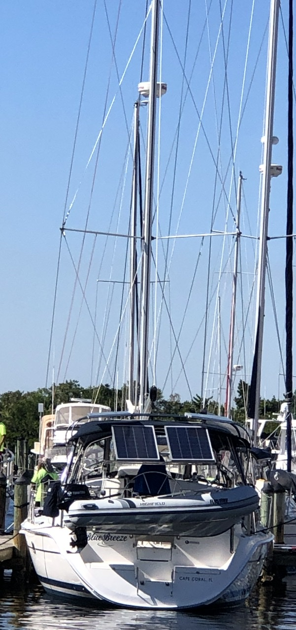 BlueBreeze in slip at Burnt Store Marina